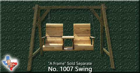 Item 1007-Swing, Outdoor Wood Furniture from Sawdust and Splinters. Made in Gatesville, Texas USA!