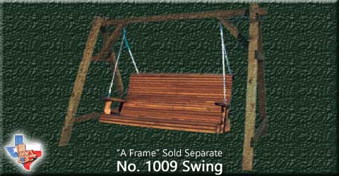 Item 1009-Swing, Outdoor Wood Furniture from Sawdust and Splinters. Made in Gatesville, Texas USA!