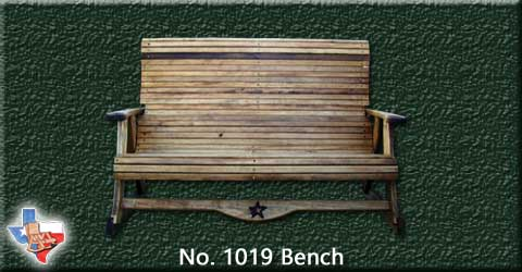 A two person wood conversation bench with a 5' wide seating area from Sawdust and Sprinters Wood Outdoor Furniture made in Gatesville, TX USA!