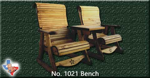 A two person wood conversation bench from Sawdust and Sprinters Wood Outdoor Furniture made in Gatesville, TX USA!